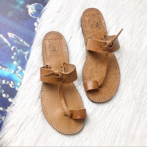 The poet real leather t-strap sandals